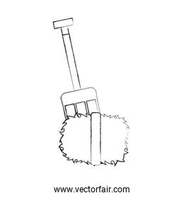 farm rake with straw blocks