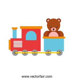 train toy with bear teddy
