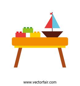 table wooden with toys