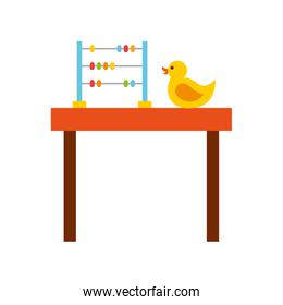 table with rubber duck toy icon
