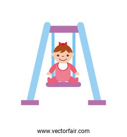 cute girl baby on swing avatar character
