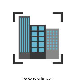buildings cityscape scene with target