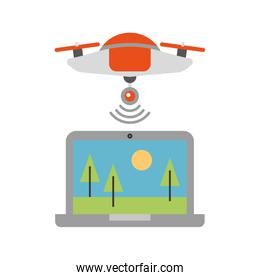 drone flying technology with laptop