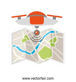 drone flying technology with paper map