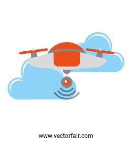 drone flying technology with clouds