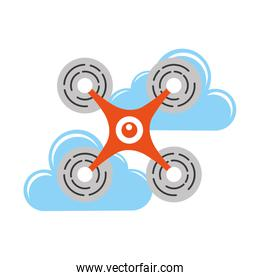 isolated drone flying technology with clouds