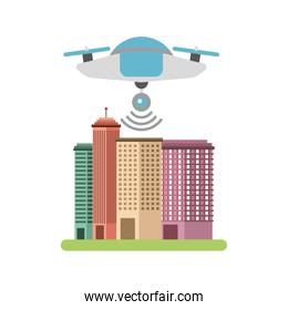 drone flying technology with cityscape
