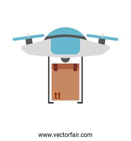 drone flying technology with box carton