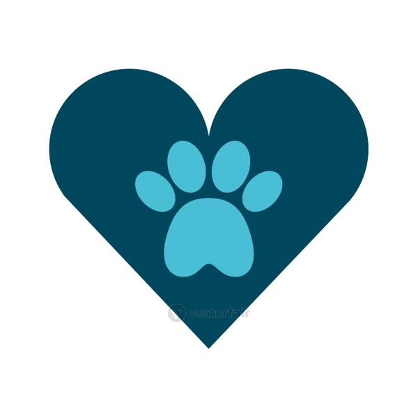 heart with paw footprint mascot isolated icon