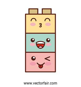 toy blocks structure kawaii character