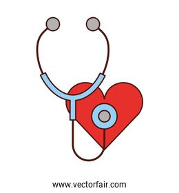 stethoscope medical with heart isolated icon