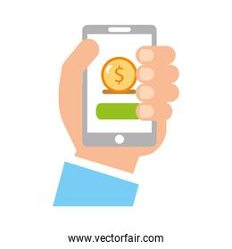user smartphone with banking app