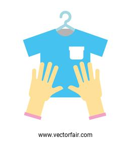 Laundry garments with gloves and shirt