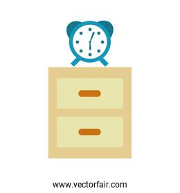 nightstand with alarm clock isolated icon