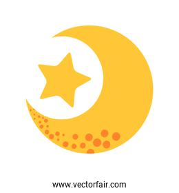 cute moon with star