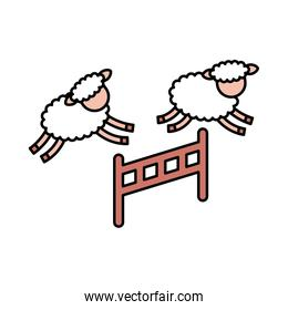 Cute lambs jumping the fence
