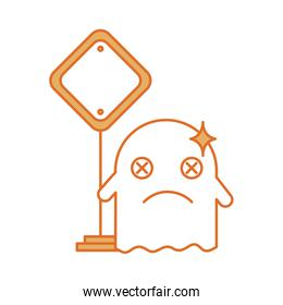 ghost kawaii character with traffic signal