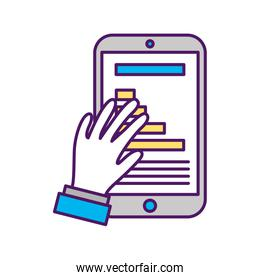 hand user with smartphone device isolated icon