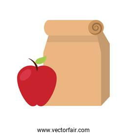Lunch bag in paper bag with apple
