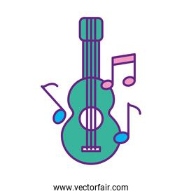 acoustic guitar with music notes