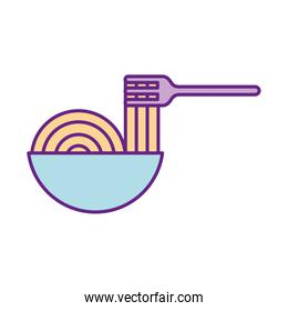 fork with Delicious spaghetti isolated icon