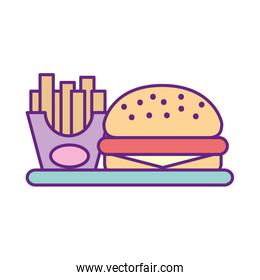 delicious burger with french fries