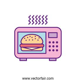 microwave oven with delicious burger