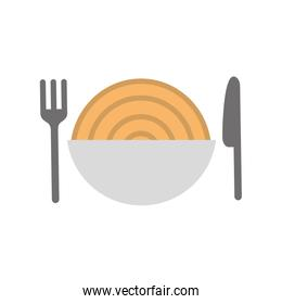 cutlery with Delicious spaghetti isolated icon
