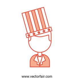 businessman with american hat isolated icon