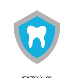 shield with human tooth isolated icon