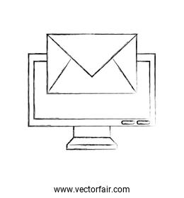 computer monitor with envelope mail isolated icon