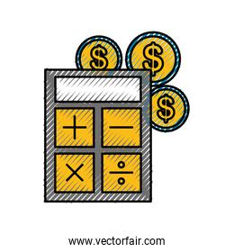 calculator device with coins
