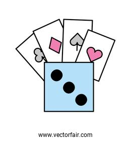 poker cards with dice