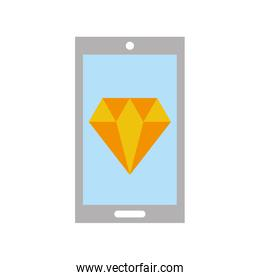 smartphone with luxury diamond isolated icon