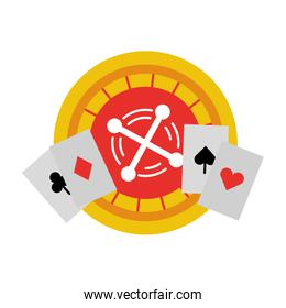 Casino roulette with poker cards