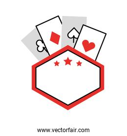 label with poker cards