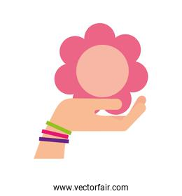 hand human with cute flower isolated icon