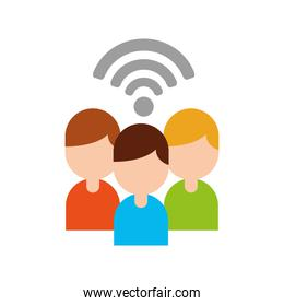 teamwork people avatars with wifi signal