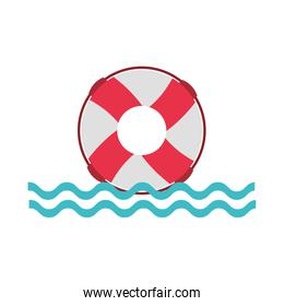float lifeguard with sea waves