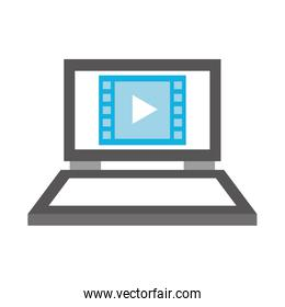 laptop with media player isolated icon