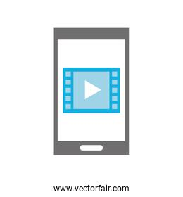 smartphone with media player isolated icon
