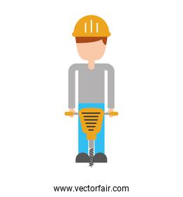 builder with hydraulic hammer isolated icon