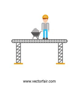 builder with wheelbarrow construction isolated icon