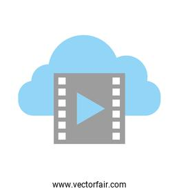 cloud computing with tape media player isolated icon