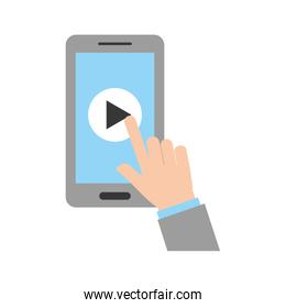 hand user smartphone with media player isolated icon