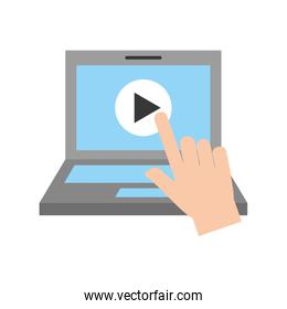 hand user laptop with media player isolated icon
