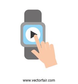 hand user smartwatch with media player isolated icon