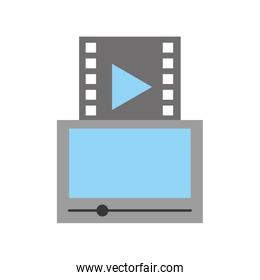 tablet with media player isolated icon