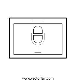 tablet with microphone audio isolated icon