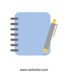 notebook with office pen isolated icon